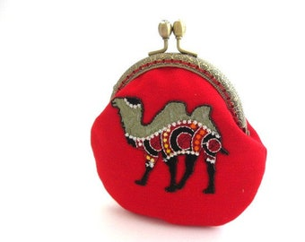 Red frame change purse with camel applique, frame coin pouch, cotton coin purse, bronze kiss lock clasp