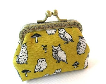 Mustard yellow frame coin pouch cotton linen fabric owl print, bronze kiss lock clasp purse metal frame purse