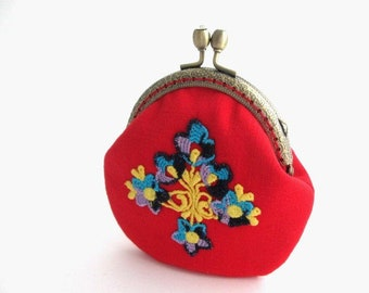 Red frame change purse with lace applique, frame coin pouch, cotton coin purse, bronze kiss lock clasp