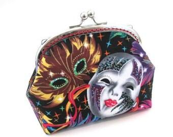 Frame bag, Mardi Gras mask cotton fabric, colorful carnival, silver kiss lock clasp, frame clutch bag, metal coin purse, makeup bag