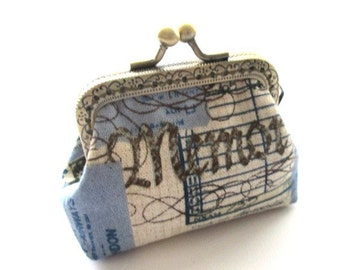 Blue beige cotton linen fabric coin frame purse bronze kiss lock clasp purse, frame pouch, metal frame purse, mini bag