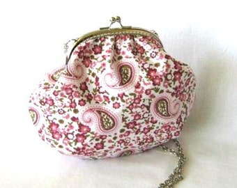 Frame purse paisley on pink flowers with silver kiss lock clasp small crossbody bag with long bag chain, cotton shoulder bag, sling purse