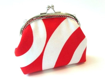 Red and white frame purse - silver kiss lock clasp bag clutch red white cotton coin purse - red snap frame purse