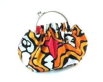 Frame handbag, orange black white frame clasp purse, removable silver bag frame with cotton linen fabric