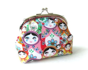 Matryoshka clutch purse, russian doll frame bag, colorful makeup bag, kiss lock clasp bag, silver purse frame