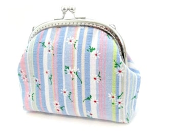 White daisy flower frame coin purse, blue white pink stripe cotton fabric, silver kiss lock clasp frame clutch bag, metal cosmetic bag