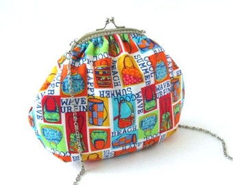 Colorful small crossbody bag, red blue orange yellow cotton fabric, sling frame purse with long chain, silver metal bag frame shoulder bag