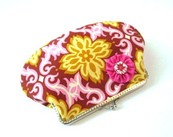 Frame makeup bag, frame clutch, pink mustard fabric pouch, flower snap frame purse, silver purse frame