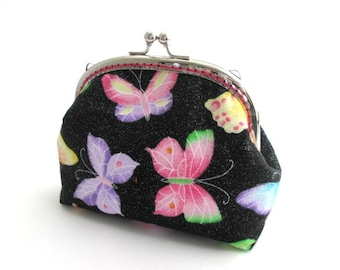 Multi color butterflies frame purse, medium coin pouch, silver kiss lock clasp bag, butterfly makeup bag