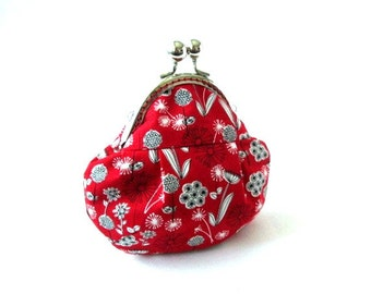 Frame purse white flowers on red clutch bag frame pouch, silver kiss lock clasp, cotton fabric