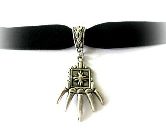 Claw choker, black choker, black velvet choker, antiqued silver claw charm jewelry, velvet ribbon choker, claw necklace