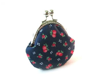 Snap coin purse cherries on blue frame pouch, change purse, snap coin pouch, metal kiss lock clasp purse, fabric frame bag