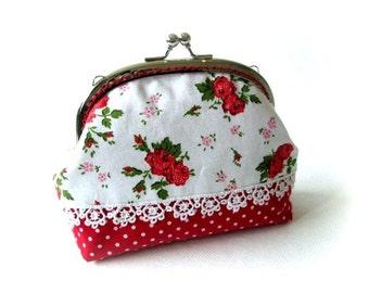 Frame purse, red flower frame bag, makeup bag, kiss lock clasp bag, silver purse frame, flower pouch