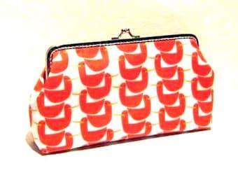 Orange frame clutch makeup bag, orange duck swan frame clasp pouch, cotton snap frame purse, silver purse frame