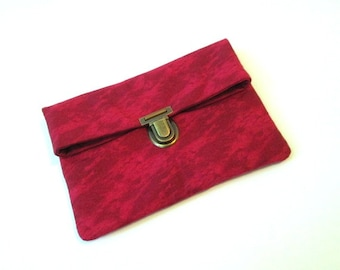 Red fold over clutch, red clutch bag with bronze purse thumb lock, red makeup bag, red small folded clutch pouch