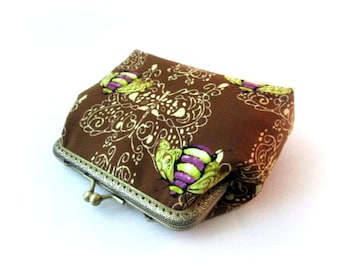 Bee on brown frame makeup bag, brown frame clutch, brown frame pouch, fabric clasp bag, bronze purse frame, snap coin purse