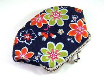 Dark blue pouch, green flower, orange flower, kiss lock clasp purse, fabric snap frame purse, change pouch, retro flower