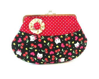 Red polka dot frame clutch, bunnies with red cherries on black fabric, kiss lock makeup bag, red black pouch with silver purse frame