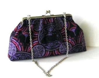 Frame bag black cat on pink and purple with silver kiss lock clasp cotton clutch shoulder bag with chain and snap hooks, ruffled bag
