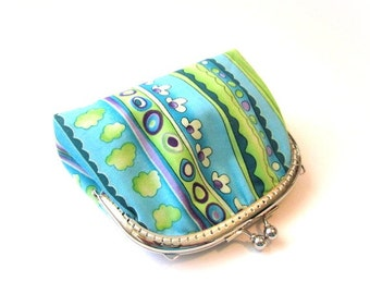 Blue frame purse silver kiss lock clasp bag metal frame clutch blue stripe cotton coin purse, blue frame makeup bag