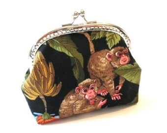 Monkey frame change purse with silver kiss lock bag, metal clasp pouch, frame clutch bag brown green yellow black makeup purse