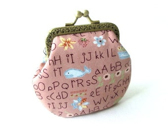 Brown frame coin pouch, cotton fabric with alphabet print, bronze kiss lock clasp, change purse