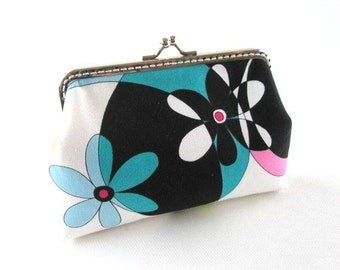 Blue flower makeup bag, snap coin purse, frame purse, blue black green kiss lock bag, metal frame purse