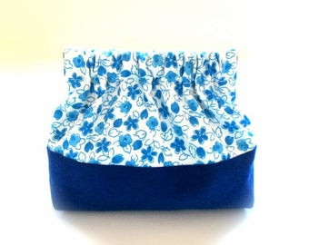 Flex frame purse, coin pouch, blue flower bag, small bag