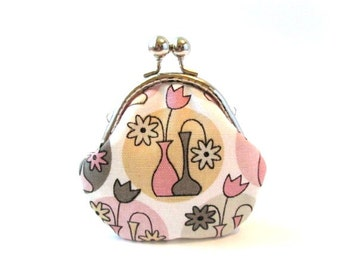 Frame coin pouch, grey pink kiss lock clasp silver frame purse metal change purse