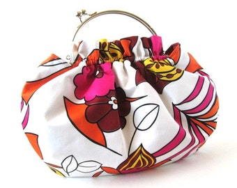 Pink orange frame handbag, frame clasp purse, removable silver bag frame, pink orange cotton fabric frame bag, ruffled bag