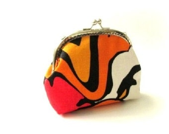 Orange yellow frame purse - silver metal kiss lock clasp bag clutch, frame coin purse, frame change pouch