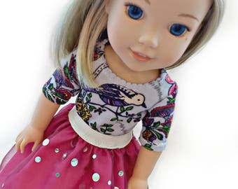 """Birds & Bubbles Top and Skirt set for 14.5"""" Wellie Wishers ~ Doll Outfit ~ Fits American Girl ~ Tee Shirt Polkadot~Pink Flower Silver Dress"""