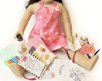 "Doll School Set ~ Back to School Drawstring Backpack Set for 18"" American Girl Dolls ~ Water Bottle Food ~ Glitter Notebook Coloring"