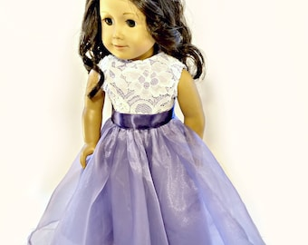 "Lilac Lace Princess Dress~18 Inch Doll Ball Gown~ Purple White Dress Up Party~Evening Gown~Prom Birthday ~ Fits 18"" American Girl Doll"