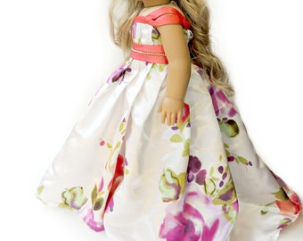"Rose Princess Dress~18 Inch Doll Ball Gown~ Pink Purple Peach Dress Party Train~Evening Gown~Prom Birthday ~ Fits 18"" American Girl Doll"