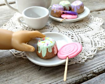 "18"" Doll Miniature Play Food ~ Cupcake Lollipop Dessert Candy Cake ~ Fits American Girl Doll ~ Pretend Clay Treats ~ Pink Mint Purple Icing"