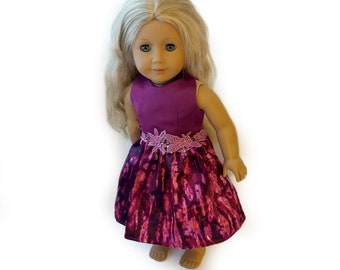 "Maroon Rose Princess Dress~18 Inch Doll Ball Gown ~ Lace Hot Pink Purple Dress Party Tea length~Prom Birthday ~ Fits 18"" American Girl Doll"