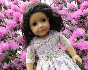 Purple Lace Princess Dress ~ 18 Inch Doll Ball Gown~ Lilac White Cream ~ AG Clothes ~ American Girl Doll Dress Up ~ Jeweled Sash