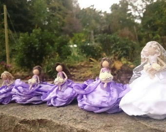 Personalized Bride with Bridal Party~Rose Bendy Dolls Made to Order Dainty Wedding present Shower Gift Handmade OOAK Bridesmaid Flower girl
