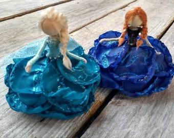 Glimmer Edition ~ Bendy  Dolls ~ Anna Designer Waldorf Flower Dolls ~ Elsa Winter Snowflake Doll Set