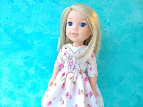CUSTOM for Wellie Wishers AG 14.5 in doll AQUA T Shirt American girl