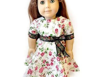 """RoseBud Doll Dress 18"""" American Girl Doll Dress ~ Rose Flower Red Green Ribbon Floral Party Gown Outfit  Doll dresses for 18 inch Dolls"""