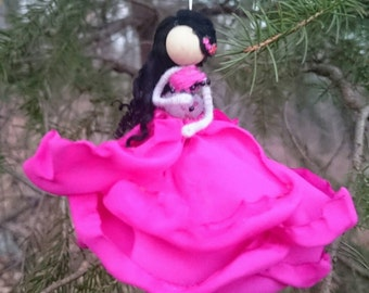 Flower Ornament ~ Pink Princess Bendy Doll ~ Designer Rose fairy ~ Waldorf OOAK Fairy Doll ~ Pink Fairy ~Princess Doll