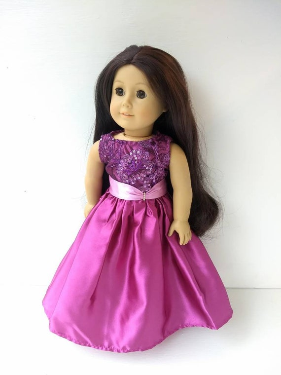 """Gold And White Floor Length Ball Gown Dress  Fits 18/"""" American Girl Doll Clothes"""