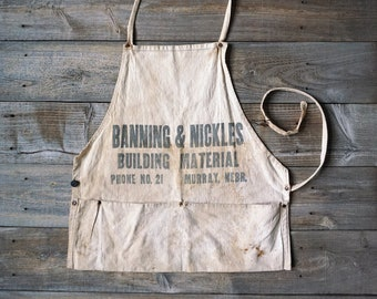 Fab Authentic French Vintage Linen Ecru Chore Workwear Apron  From a House in South West France  Wonderful Rustic Item  Garden or Kitchen