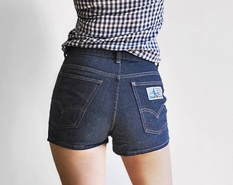 ad8420214d 70s Levis Plowboy Denim Shorts - High Waisted Dark Denim Hot Pants - Farmers  Mechanics and Miners - Womens Small Medium