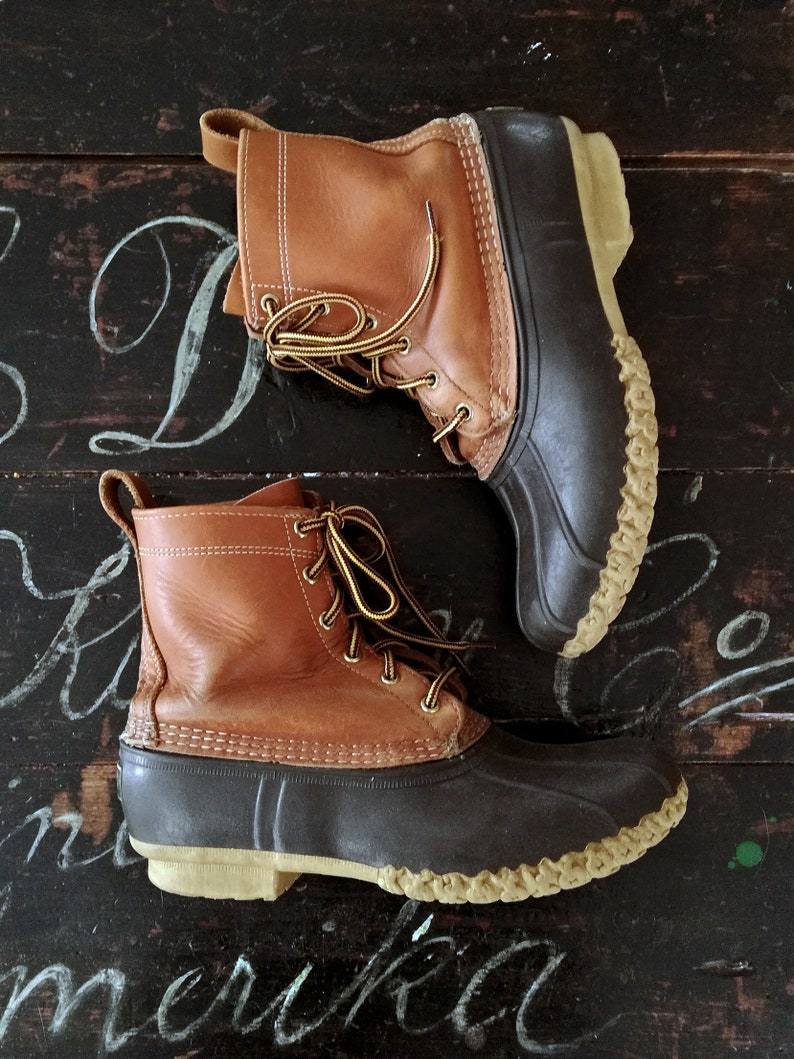 37cf3dcf1c2 Vintage LL Bean Boots - Made in Maine USA - All Weather Duck Hunting Rain  Boots - Tan Brown Leather Rubber - Mens 7, 8 - Womens 9, 9.5