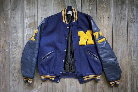 64f87d07ed7 Vintage Varsity Wool and Leather Jacket Genuine Flynntan
