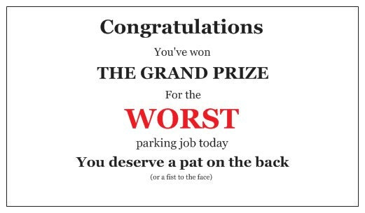 Business cards for people who suck at parking grand prize etsy zoom colourmoves