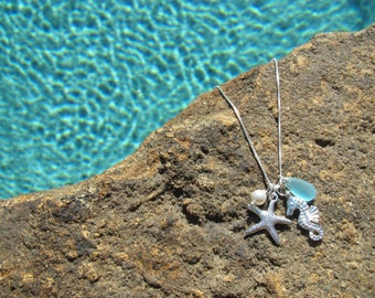 1 STARFISH NECKLACES - Starfish Necklace, Starfish Jewelry, Bridal Jewelry, Starfish Bridesmaid Jewelry Necklace